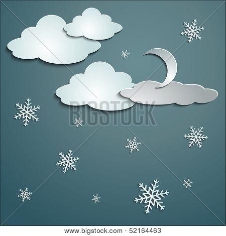 Snowflakes, moon