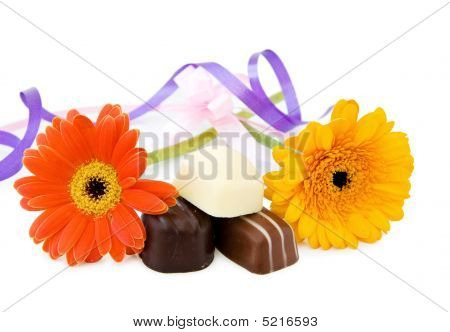 Luxury Chocolates And Flowers For The Celebration Of A Special Day