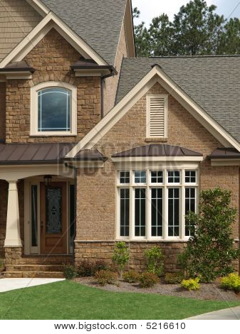 Luxury Model Home Exterior Front Door Bay Window