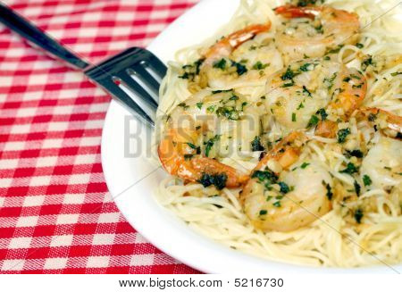 Shrimp Scampi On Plate Close Up