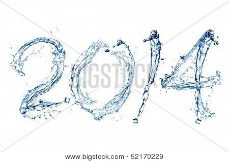 Happy New Year 2014 By Water Drop