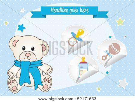 Baby boy invitation. Cute teddy bear with scarf