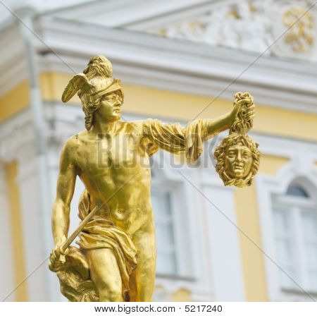 Statue Of Perseus With The Head Of The Gorgon Medusa, Petergof, Saint Petersburg, Russia