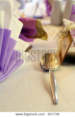Wedding Table Setting And Silver Spoon