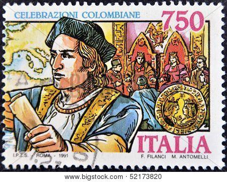 Italy - Circa 1991: A Stamp Printed In Italy Shows Christopher Columbus, Circa 1991