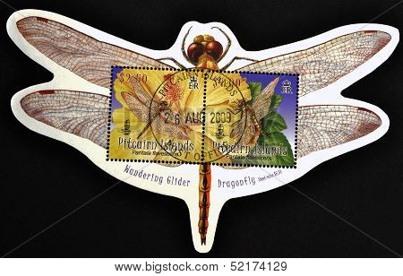 Pitcairn Islands - Circa 2009: A Stamp Printed In Pitcairn Islands Shows A Pantala Flavescens