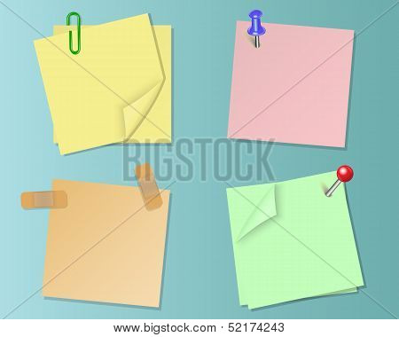 Set pieces of paper of different colors