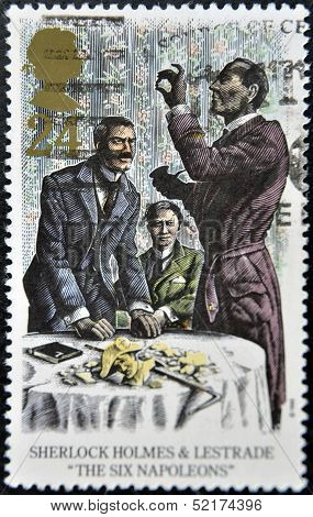 A stamp printed in Great Britain shows Sherlock Holmes and Lestrade in