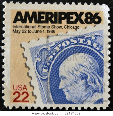 A stamp honoring AMERIPEX '86 the 1986 international Philatelic exhibition hosted by the U. S.t