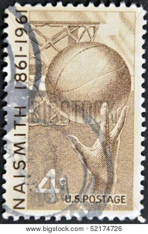 United States - Circa 1961: Stamp Printed In United States, Shows Basketball, Naismith, Circa 1961