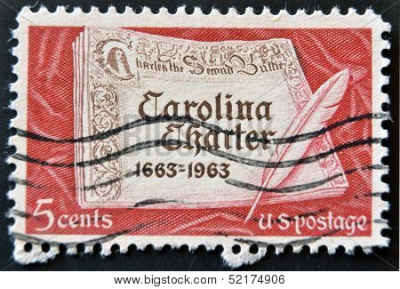 United States Of America - Circa 1963: A Stamp Printed In Usa Shows First Page Of Carolina Charter