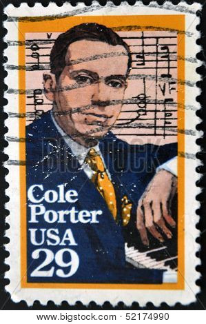 United States Of America - Circa 1991: A Stamp Printed In Usa, Shows Cole Porter, Circa 1991