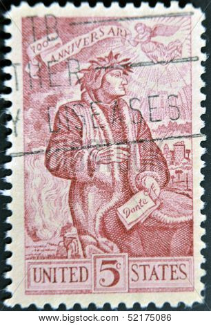 A stamp printed in the USA shows Dante Alighieri 700th anniversary