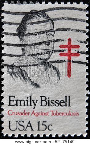 stamp shows Emily Bissell social worker who introduced Christmas seals crusader against tuberculosis