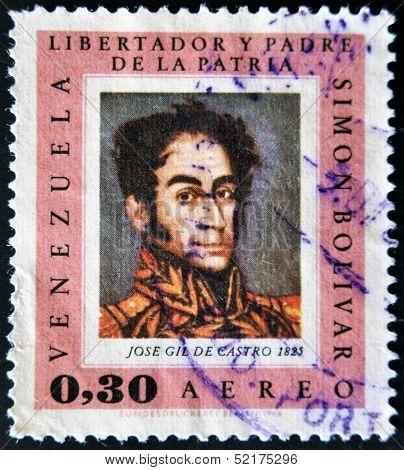 Venezuela - Circa 1966: A Stamp Printed In Venezuela, Shows Portrait Simon Bolivar