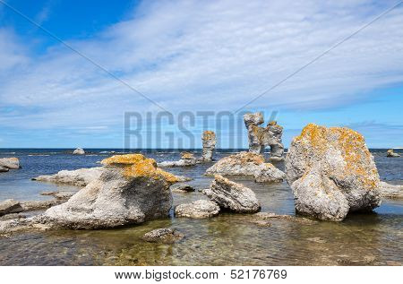 Limestone Formations On The Swedish Coastline
