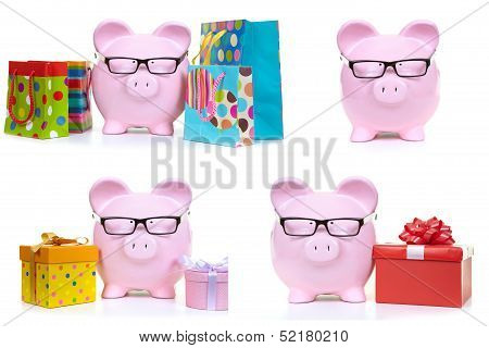 Pink Pig And Multicolored Bags