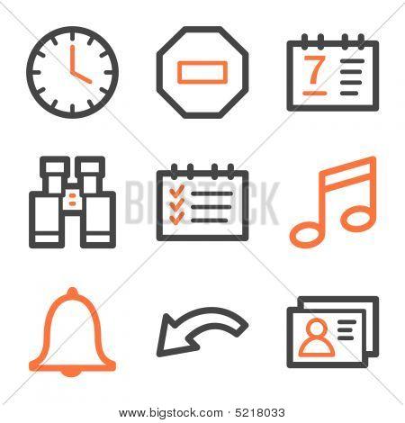 Organizer Web Icons, Orange And Gray Contour Series
