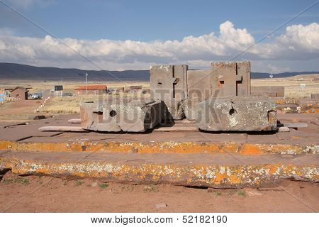 Megalithic stone complex Puma Punku of Tiwanaku civilization, Bolivia