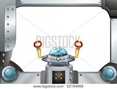 Illustration of a metal frame border with a robot inside a saucer