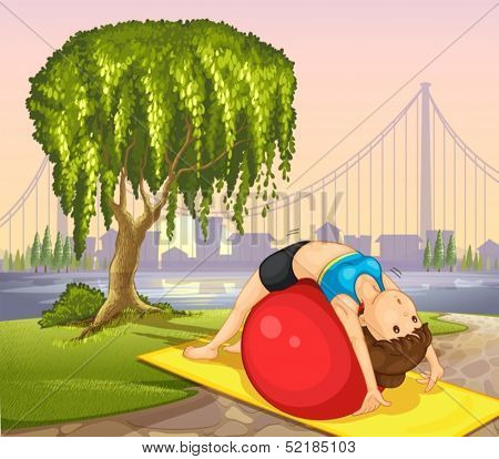 Illustration of a girl keeping her body fit near the tree