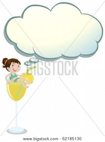Illustration of a girl above the glass with an empty callout on a white background