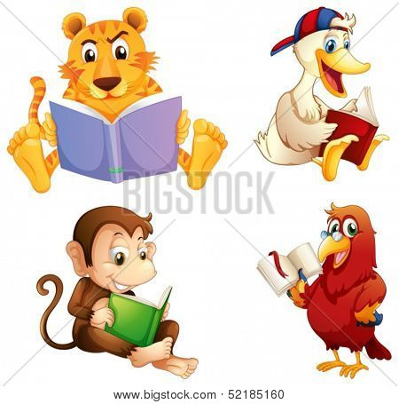 Illustration of the four animals reading on a white background