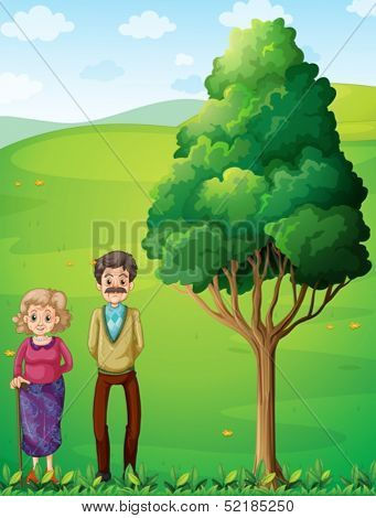 Illustration of the grandparents at the hilltop near the tree