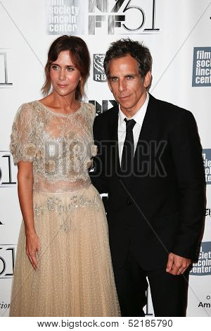 NEW YORK-OCT 5: Kristen Wiig and Ben Stiller attend 'The Secret Life Of Walter Mitty' premiere at the New York Film Festival at Alice Tully Hall at Lincoln Center on October 5, 2013 in New York City.