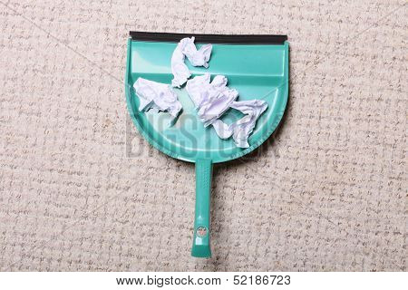 Cleaning. Green Dustpan With Garbage, Housework