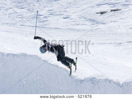 Skier On Half Pipe Of Prodollano Ski Resort In Spain