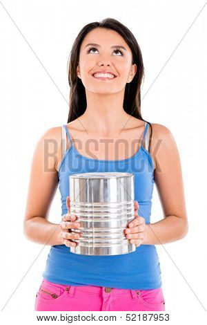 Happy woman with a paint can - isolated over white background