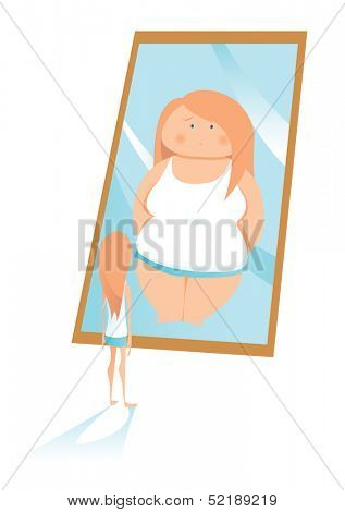 Slim young woman looking in mirror and seeing herself as overweight. Concepts: anorexia or bulimia