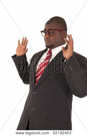 African American Model In Business Suit Hands In A Back Off Position