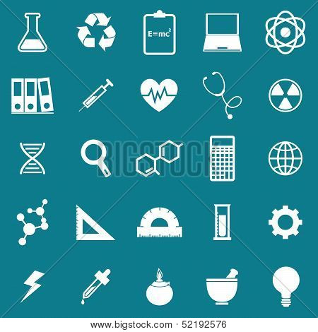 Science Icons On Blue Background