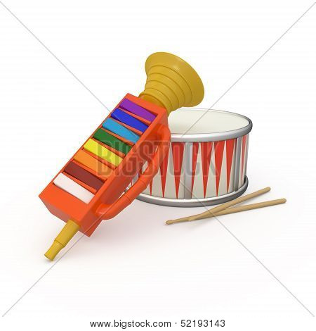 Isolated fife, drum and two drumsticks