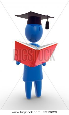 Student reading the book