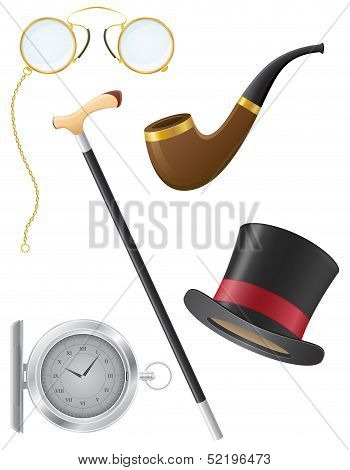 Retro Mens Accessories 19Th Century Vector Illustration