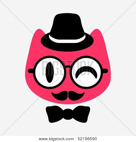 Funny kitty gentleman face