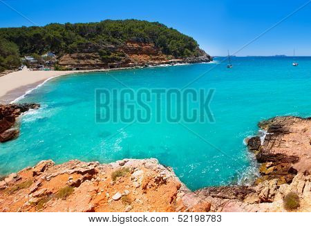 Ibiza cala Salada in san Antonio Abad at Balearic Islands Spain