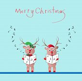 image of christmas song  - two reindeer singing christmas song  - JPG