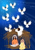 picture of angel-trumpet  - Joseph and Mary with baby jesus at stable with singing angel - JPG
