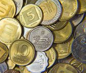 stock photo of shekel  - Huge pile of the coins of Israel - JPG