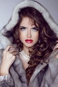 picture of mink  - Fashion sexy model girl with red lips posing in Mink Fur Coat - JPG