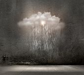stock photo of rain cloud  - Background image of stone wall with rain and clouds - JPG
