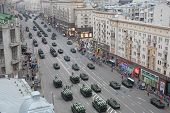 MOSCOW - MAY 3: Land-based military equipment at the rehearsal of Victory Day parade on Tverskaya st