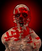 pic of festering  - Really horrible looking zombie covered in blood - JPG