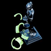 stock photo of handlock  - Lady of Justice  statue and handcuffs - JPG