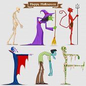 stock photo of happy halloween  - illustration of collection of Halloween Character - JPG