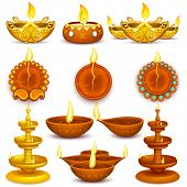foto of diya  - illustration of collection of Diwali decorated diya - JPG